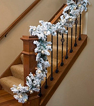 Pre-Lit Heavily Flocked Pine Artificial Christmas Garland with Clear Lights