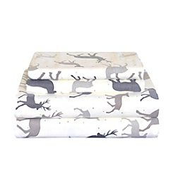 Pointehaven Autumn Deer Flannel Sheet Set