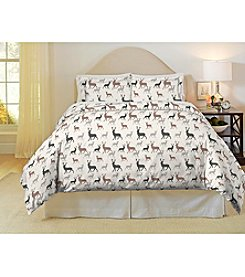 Pointehaven Autumn Deer 3-pc. Flannel Duvet Set