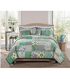 Pem-America, Inc.® Retro Chic Chevron Green Block 3-pc. Quilt Set