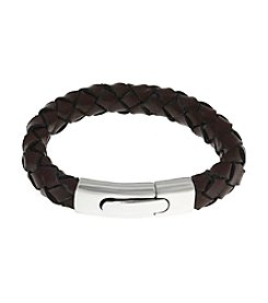 Brown Leather Bracelet with Stainless Steel Snap Lock