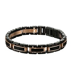 Stainless Steel Two-Tone Bracelet with Cable Inlay