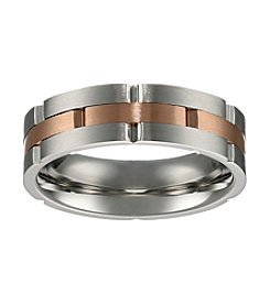 Stainless Steel Ring with Rose IP Accent