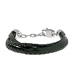 Black Leather Bracelet with Stainless Steel Lobster-claw Clasp