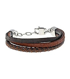 Three-Rows Brown Leather Bracelet with Stainless Steel Lobster-claw Clasp