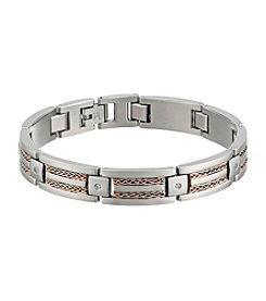 Stainless Steel Link Bracelet with Rose IP Plating and Cubic Zirconia
