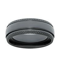 Black Zirconium Ring with Diamond Pattern Edges