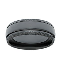 Black Zirconium Ring with Diamond Pattern Edges