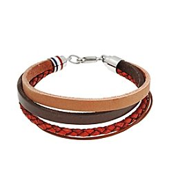 Multi-Rows Brown Leather Bracelet with Stainless Steel Lobster-claw Clasp