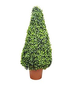 Potted Two-Tone Artificial Boxwood Tower Cone Topiary Tree