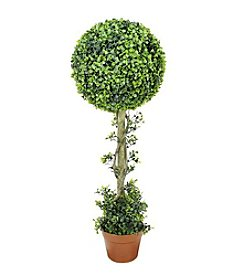 Potted Two-Tone Artificial Boxwood Ball Topiary Tree