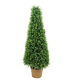 Potted Two-Tone Artificial Cypress Tower Cone Topiary Tree