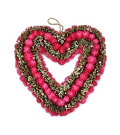 Artificial Heart-Shaped Wreath with Pink Flowers and Twigs
