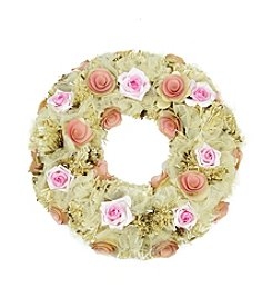 Artificial Spring Floral Wreath with Pink and Cream Flowers