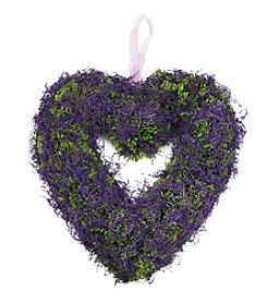 Artificial Heart-Shaped Wreath with Purple Reindeer Moss