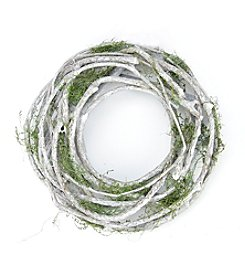 Artificial Spring Wreath with Green Moss and White Twigs