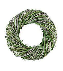Artificial Spring Wreath with Green and White Twig
