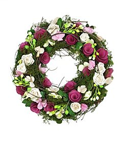 Artificial Spring Floral Wreath with Purple and White Flowers