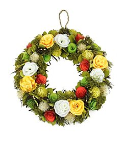 Artificial Spring Floral Wreath with Orange and White Flowers