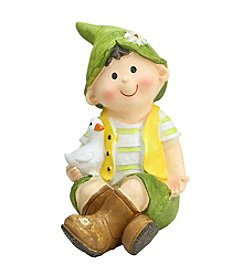 Young Gnome Boy Sitting with Duck Outdoor Patio Garden Statue