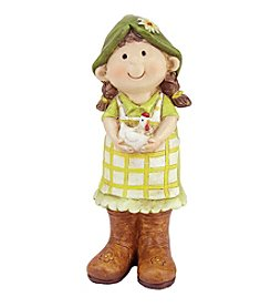 Young Gnome Girl standing with Chicken Outdoor Patio Garden Statue