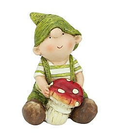 Young Gnome Boy Holding a Mushroom Outdoor Patio Garden Statue