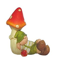 Young Gnome Boy Under a Mushroom Outdoor Patio Garden Statue