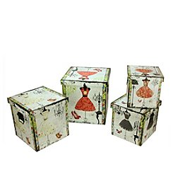 Set of 4 Wooden Vintage-Style Fashion Dresses Storage Boxes