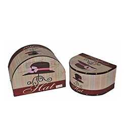 Set of 2 Wooden Vintage-Style Decorative Hat Storage Boxes