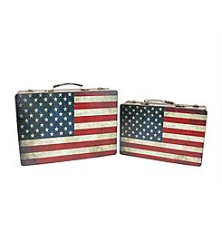 Set of 2 Rustic American Flag Decorative Storage Boxes