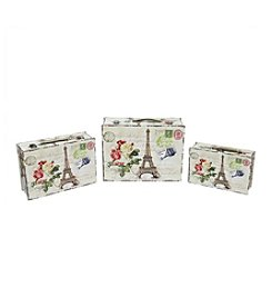 Eiffel Tower, Paris and Flowers Set of 3 Vintage-Style Decorative Wooden Storage Boxes