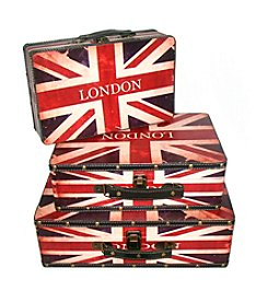 Set of 3 Rustic British Flag Decorative Wooden Storage Boxes