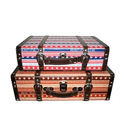 Vintage-Style Red, White and Blue Star Set of 2 Decorative Wooden Luggage Trunks