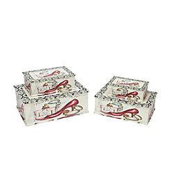 Vintage-Style French Fashion Set of 4 Decorative Wooden Storage Boxes