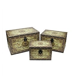 Set of 3 Oriental-Style Earth Tone Decorative Wooden Storage Boxes