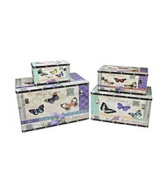 Set of 4 Garden-Style Decorative Wooden Storage Boxes