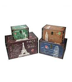 Set of 4 Vintage-Style Travel Themed Decorative Wooden Storage Boxes