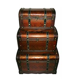 Decorative Antique Wood and Faux Snakeskin Set of 3 Storage Boxes