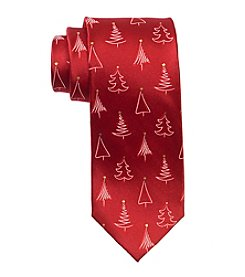 HO HO HO Men's Holiday Tossed Christmas Trees Tie