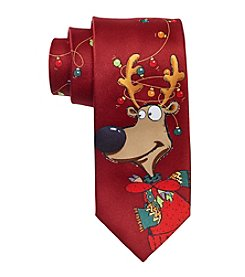 HO HO HO Men's Holiday Reindeer Lights Tie