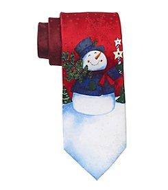HO HO HO Men's Holiday Snowman Print Tie
