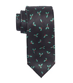 HO HO HO Men's Holiday Holly Woven Tie