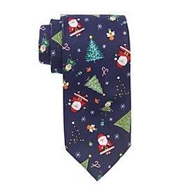 HO HO HO Men's Holiday Santa And Trees Tie