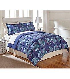 LivingQuarters Reversible Microfiber Down-Alternative Dahlia Floral Comforter