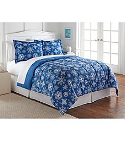 LivingQuarters Reversible Microfiber Down-Alternative Blue Snowflake Comforter