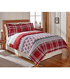 LivingQuarters Reversible Microfiber Down-Alternative Fair Isle Plaid Comforter