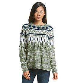 Kensie® Fringe Print Pullover Sweater