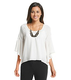 Sequin Hearts® Lace Trim Ruffle Shirt