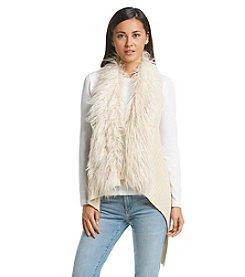 Sequin Hearts® Faux Fur Trim Sweater Vest