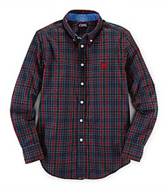 Chaps Boys' 8-20 Long Sleeve Plaid Woven Top